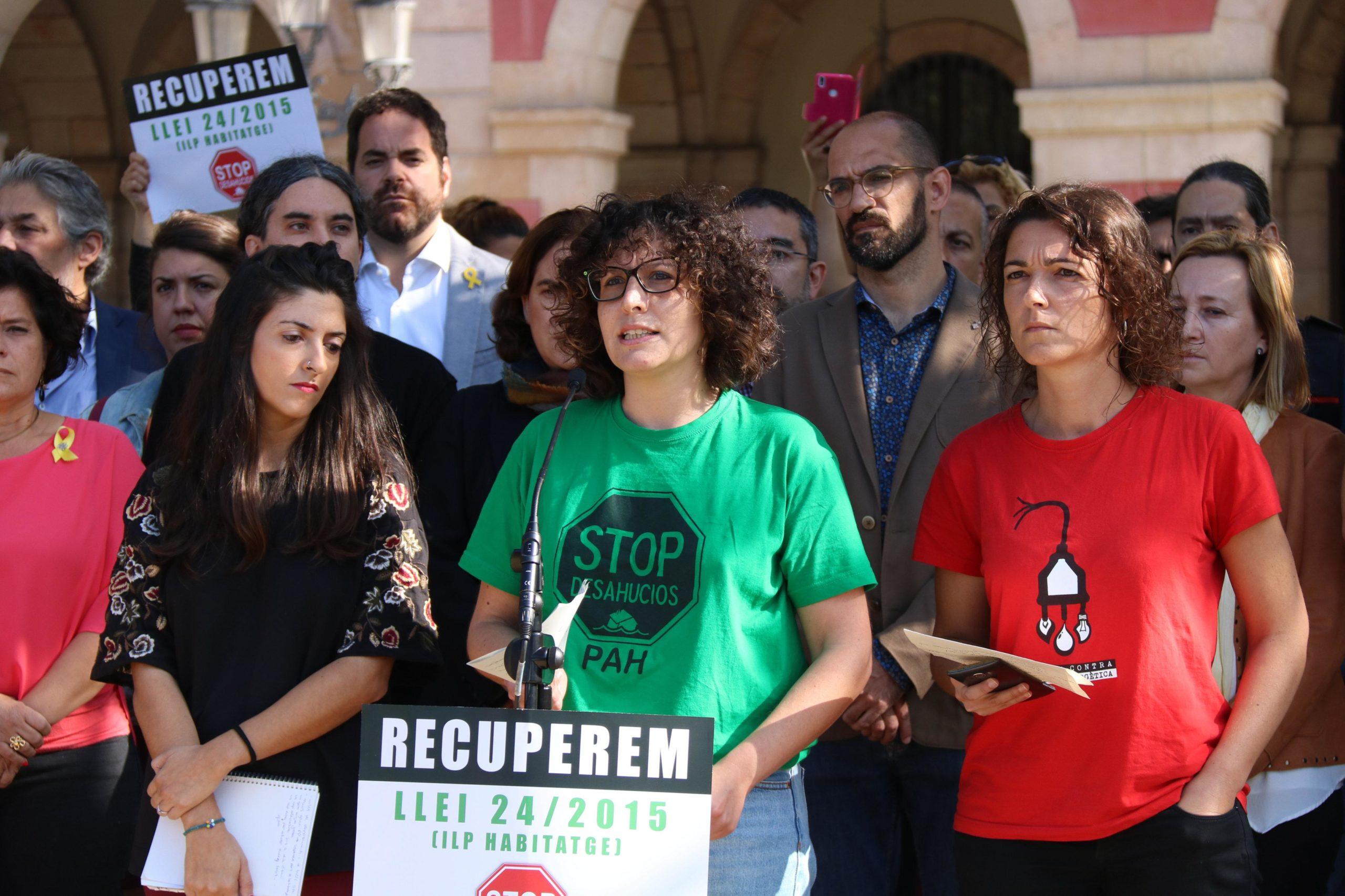 La portaveu de la PAH, Lucía Delgado, en una roda de premsa el darrer octubre / ACN - Núria Julià