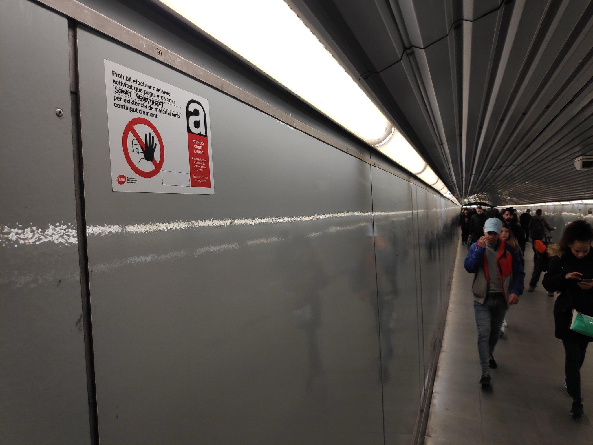 Amiant a la xarxa de metro (plaça Catalunya).   CGT