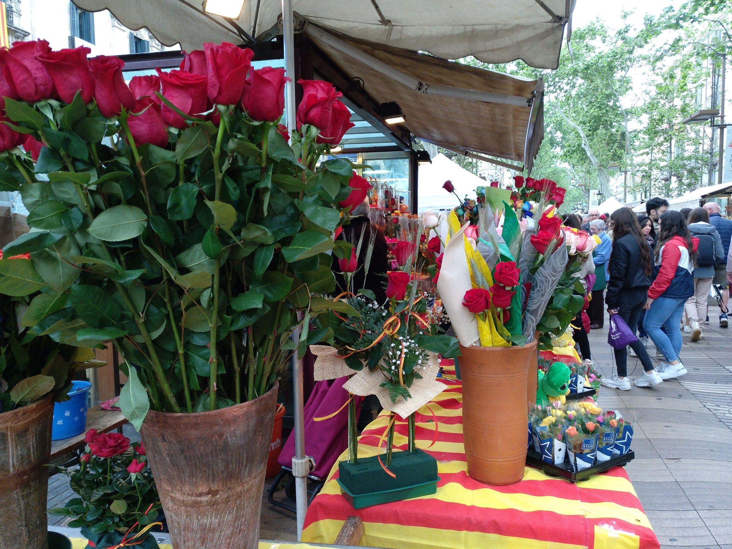 Roses a punt per Sant Jordi a la Rambla, a primera hora / Meritxell M. Pauné