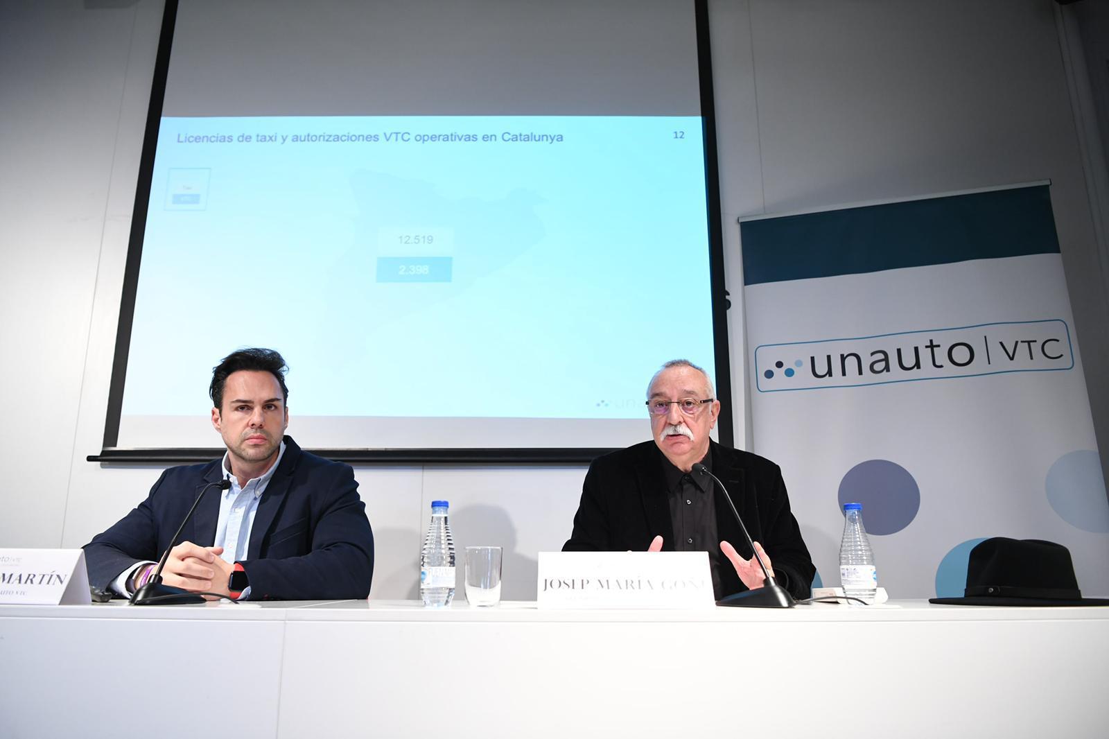 El president d'Unauto a nivell estatal, Eduardo Martín (esquerra), i el president d'Unauto Catalunya, Josep Maria Goñi.   Unauto