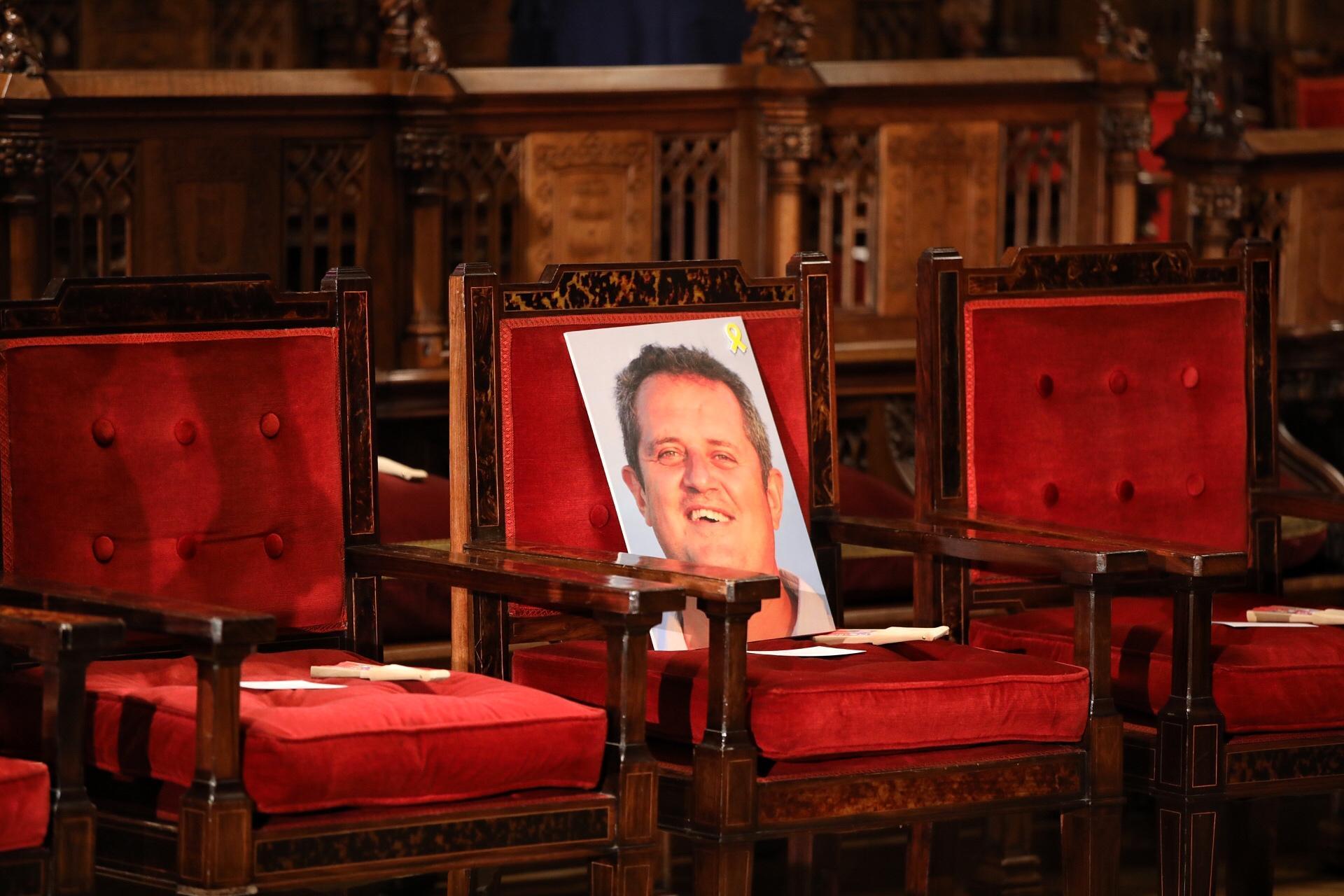 La cadira on hauria hagut de seure Quim Forn durant el pregó de la Mercè 2019 si no hagués estat a la presó / Jordi Play