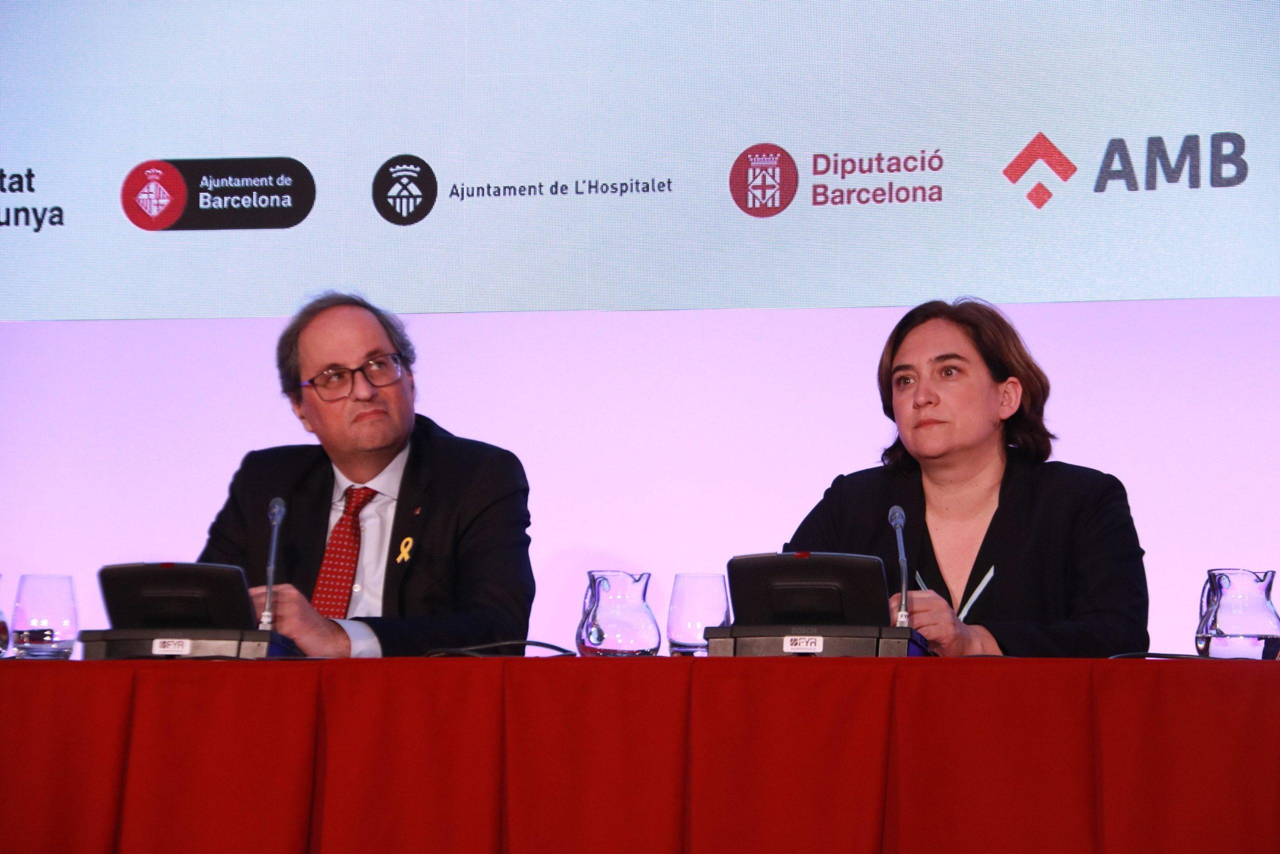 Quim Torra i Ada Colau en una roda de premsa conjunta anterior a Fira de Barcelona / AMB
