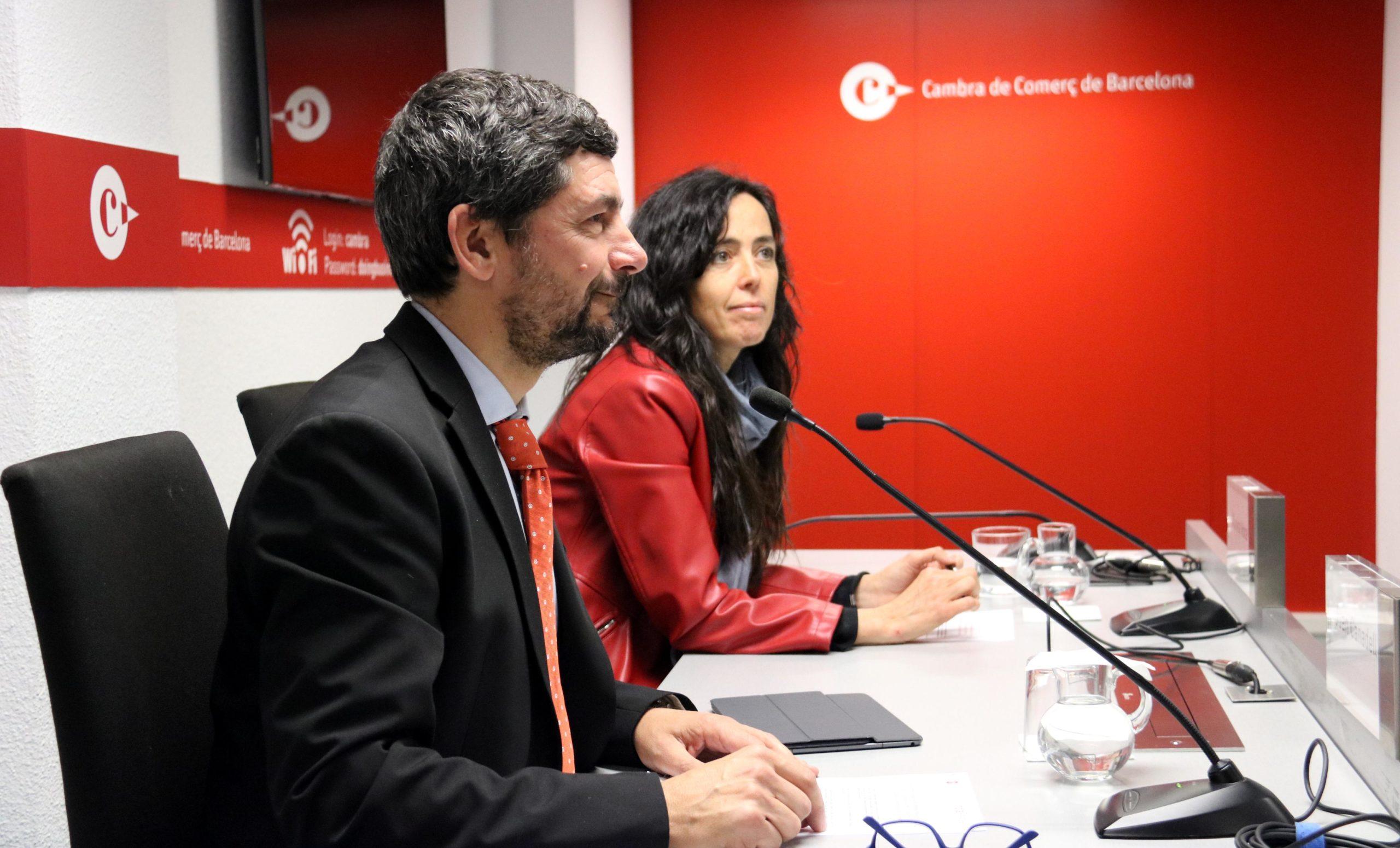 El president de la Cambra de Comerç de Barcelona, Joan Canadell, i la vicepresidenta primera de la corporació, Mònica Roca, en una imatge del gener / ACN