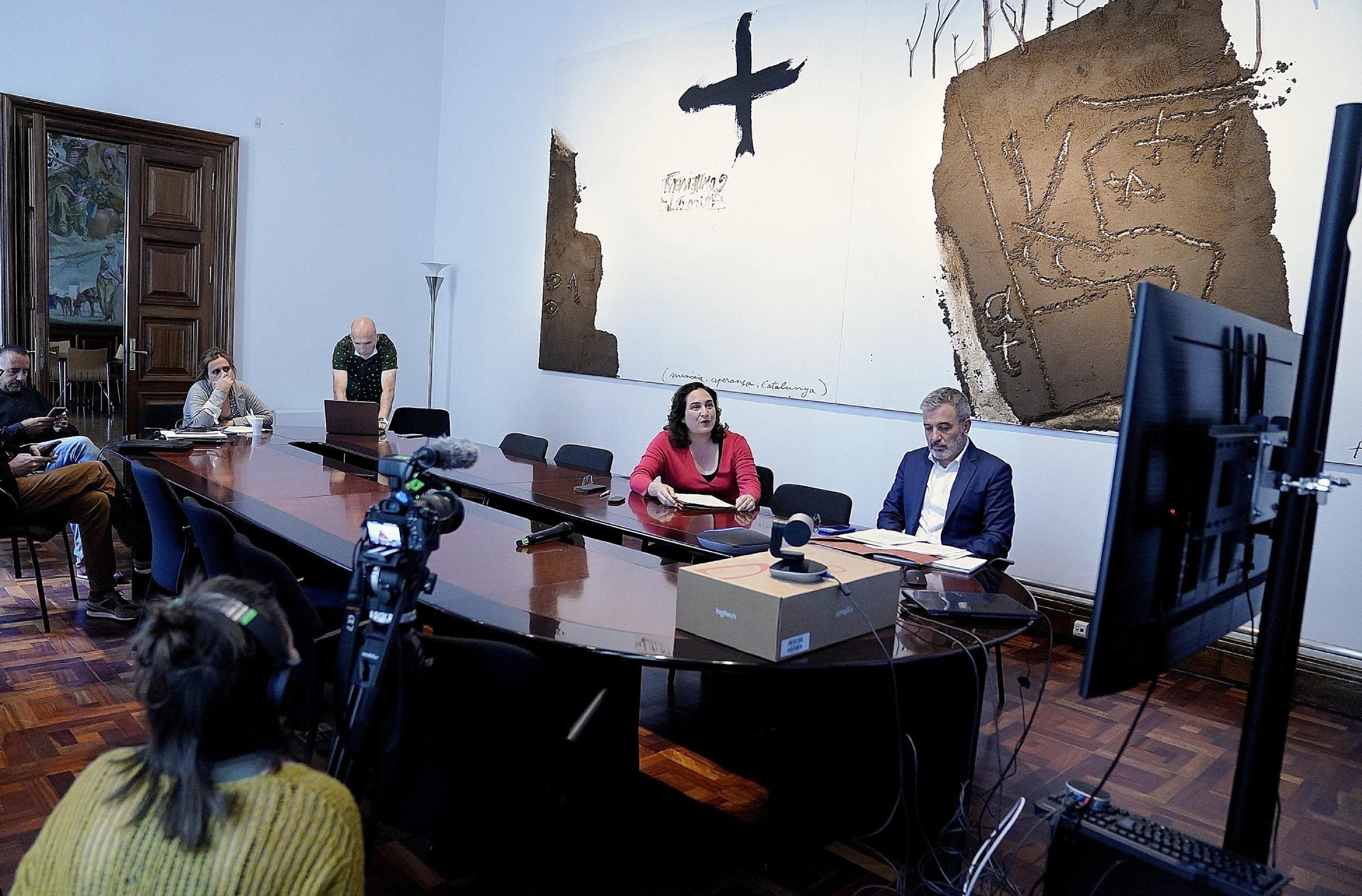 Ada Colau i Jaume Collboni, en la primera reunió del 'Pacte per Barcelona' / Ajuntament de Barcelona