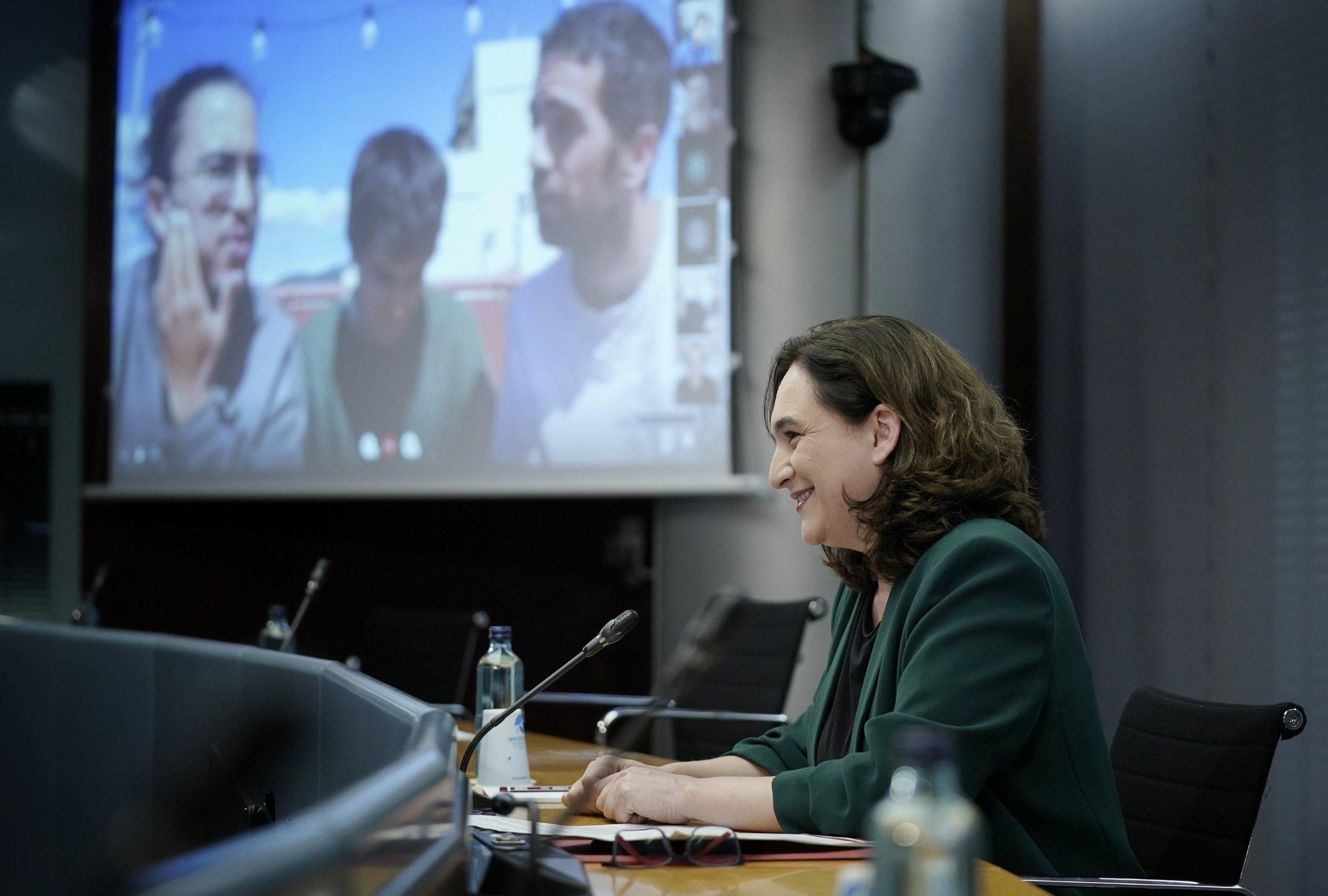 Ada Colau durant la presentació del concert als balcons d'El Terrat i MediaPro / Ajuntament de Barcelona