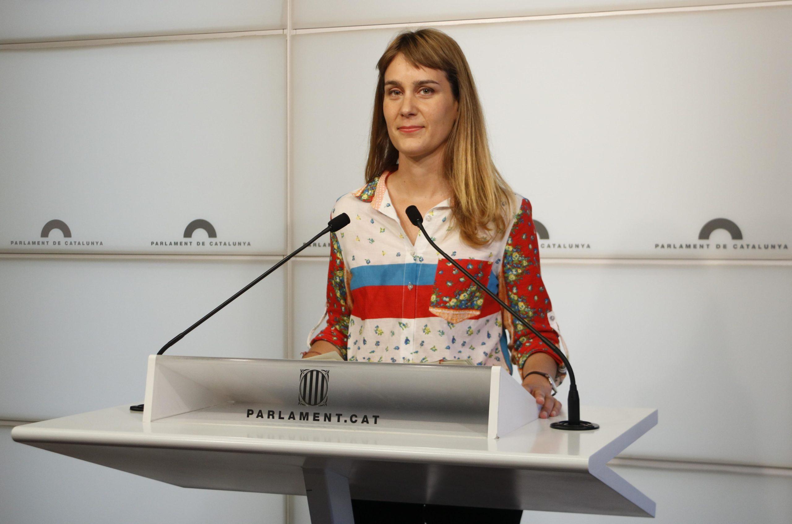 La líder de CatECP al Parlament, Jéssica Albiach, en una roda de premsa. / ACN (Gerard Artigas)
