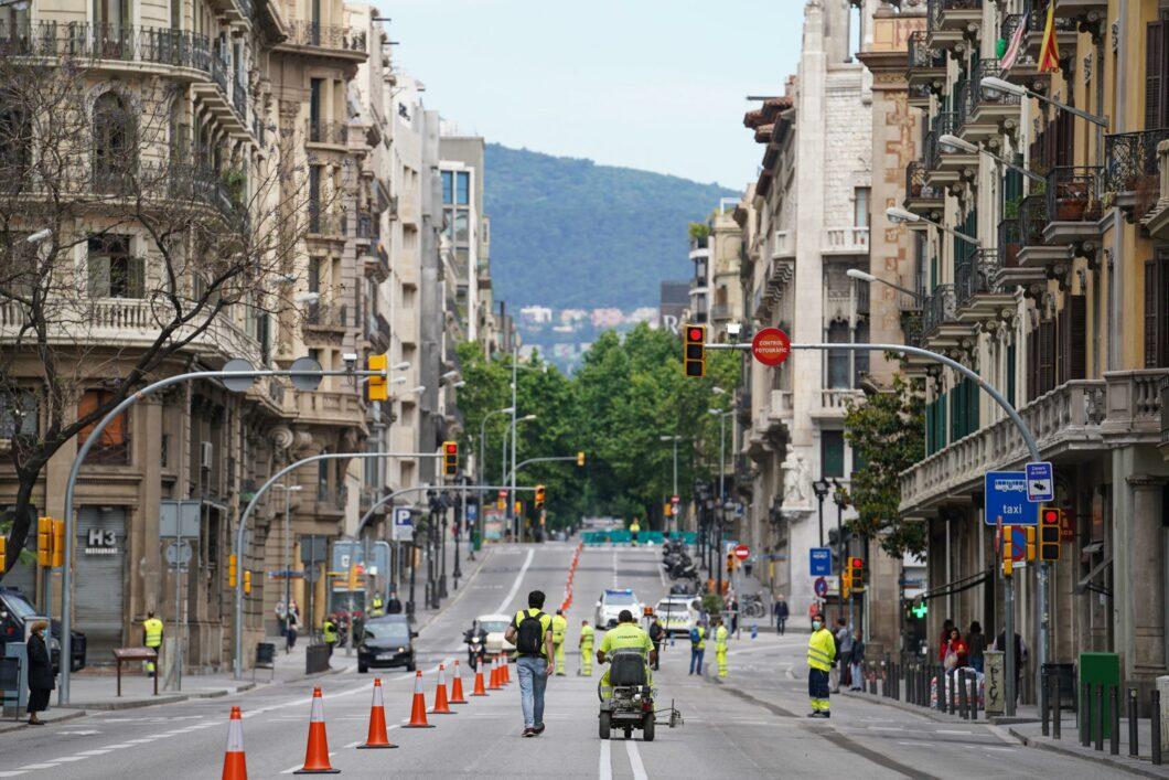 Ampliació tàctica de les voreres a la Via Laietana, el maig de 2020 / Ajuntament de Barcelona