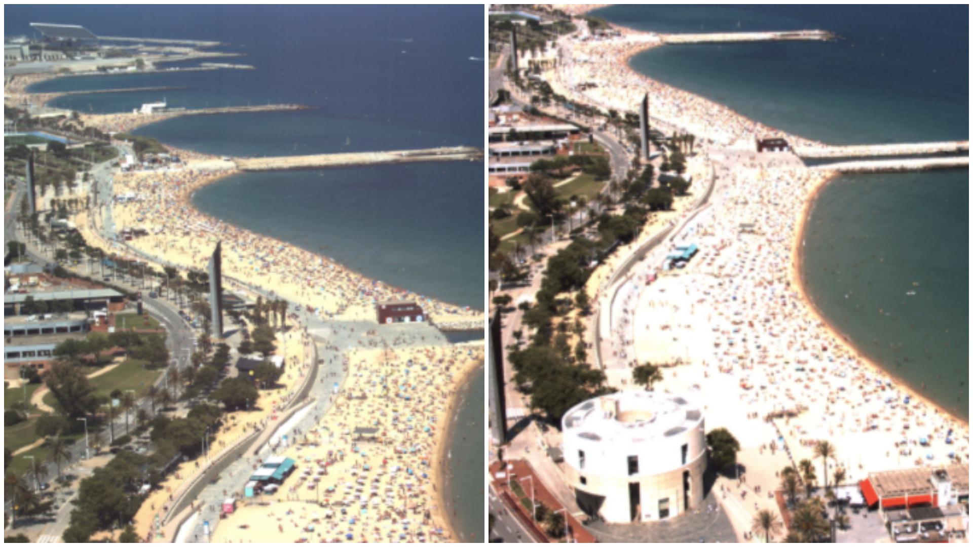 Vista de les platges del Bogatell i de la Nova Icària a les 14h d'aquest diumenge, captada per les webcams municipals / Ajuntament de Barcelona