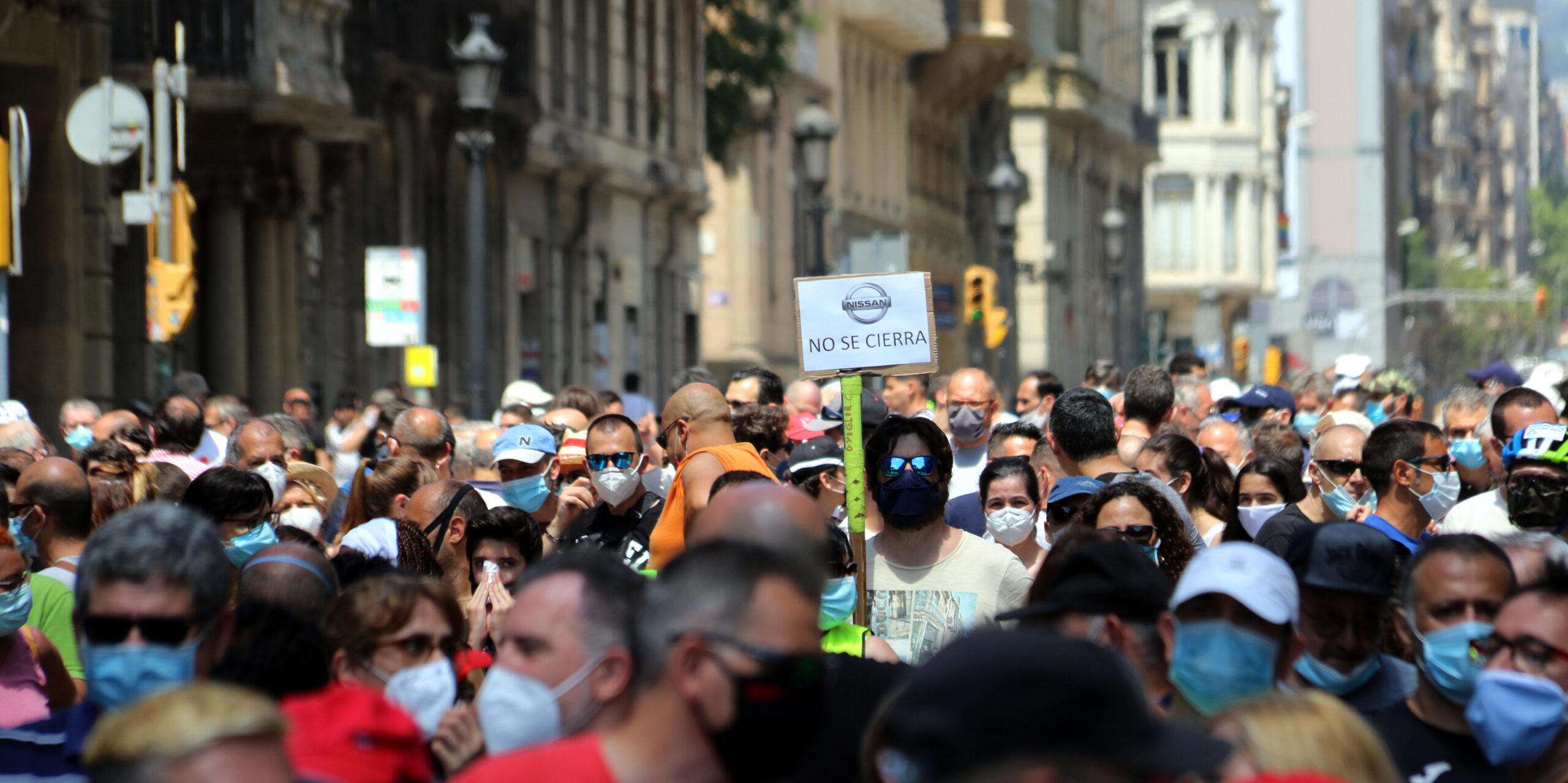Sindicalistes d'UGT, USOC i CCOO al centre de Barcelona / ACN (Marta Casado Pla)