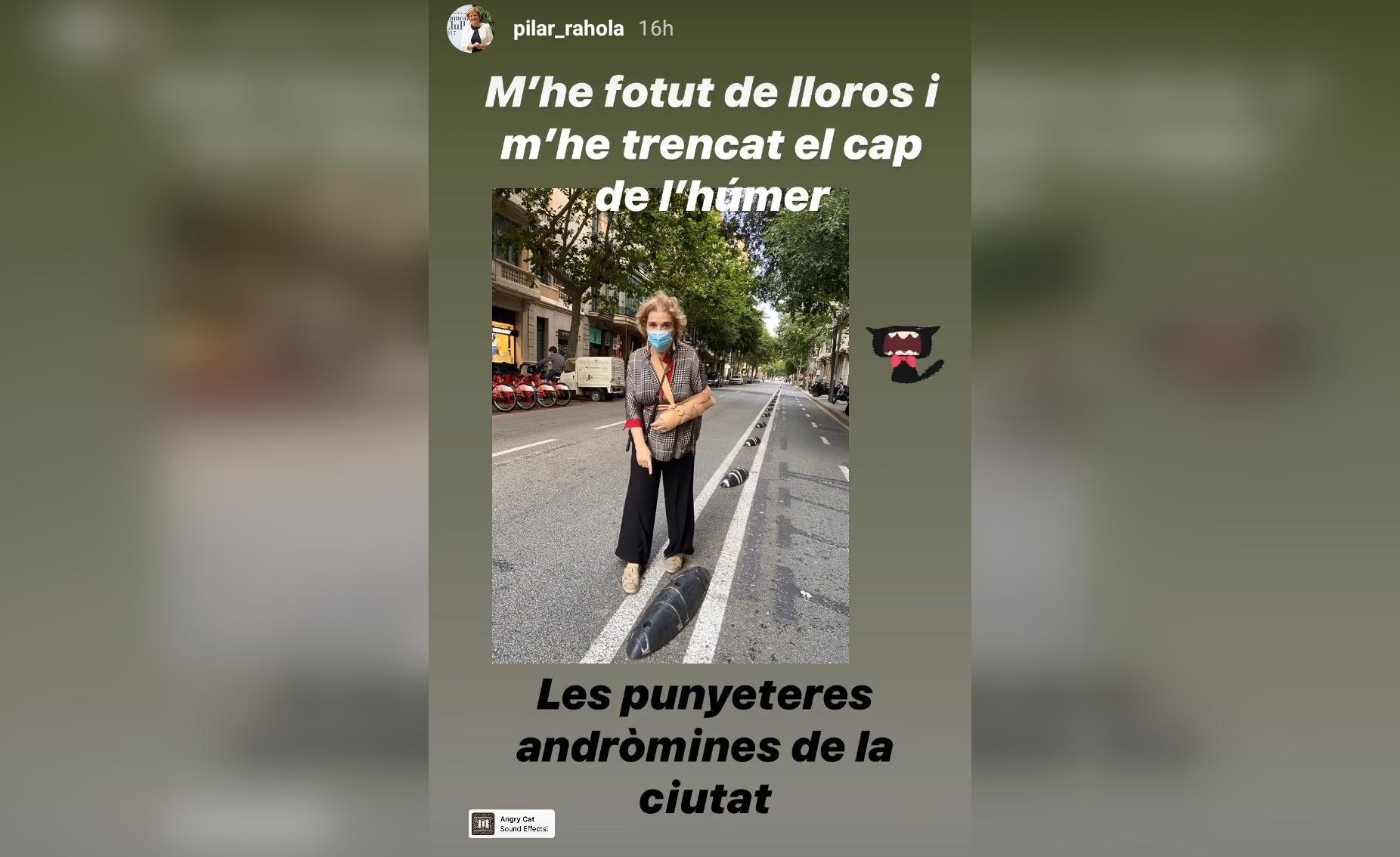 Pilar Rahola en la foto que va penjar a Instagram per indicar on havia ensopegat amb un separador de carril bici