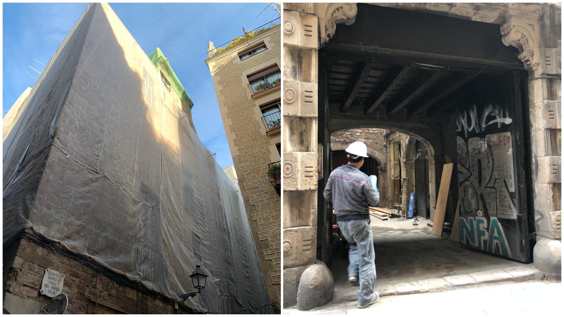 Malla de protecció i obres al palau Vilana-Perles / Sílvia Barroso - Miqui Mel