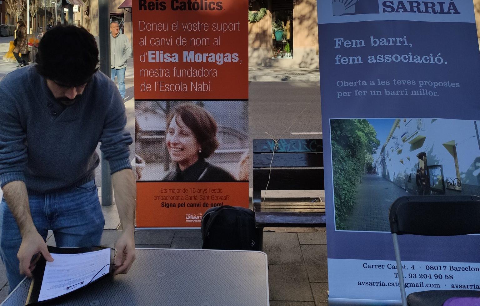 El carrer dels Reis Catòlics passa dir-se carrer d'Elisa Moragas / @CanviemC