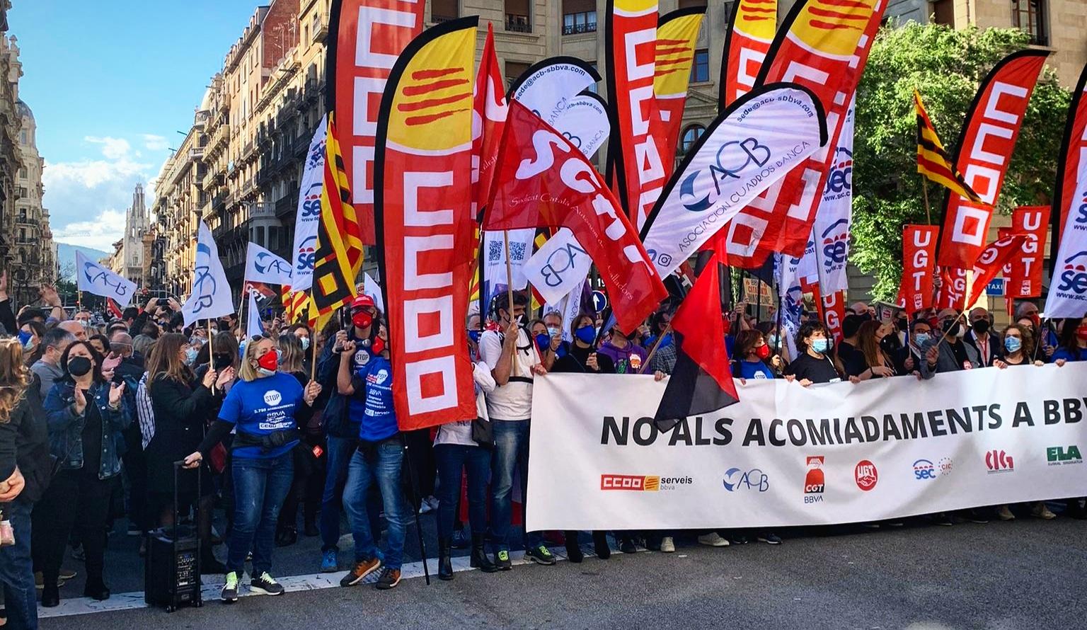 Protesta a la Via Laietana contra l'ERO del BBVA / Javier Pacheco (CCOO)