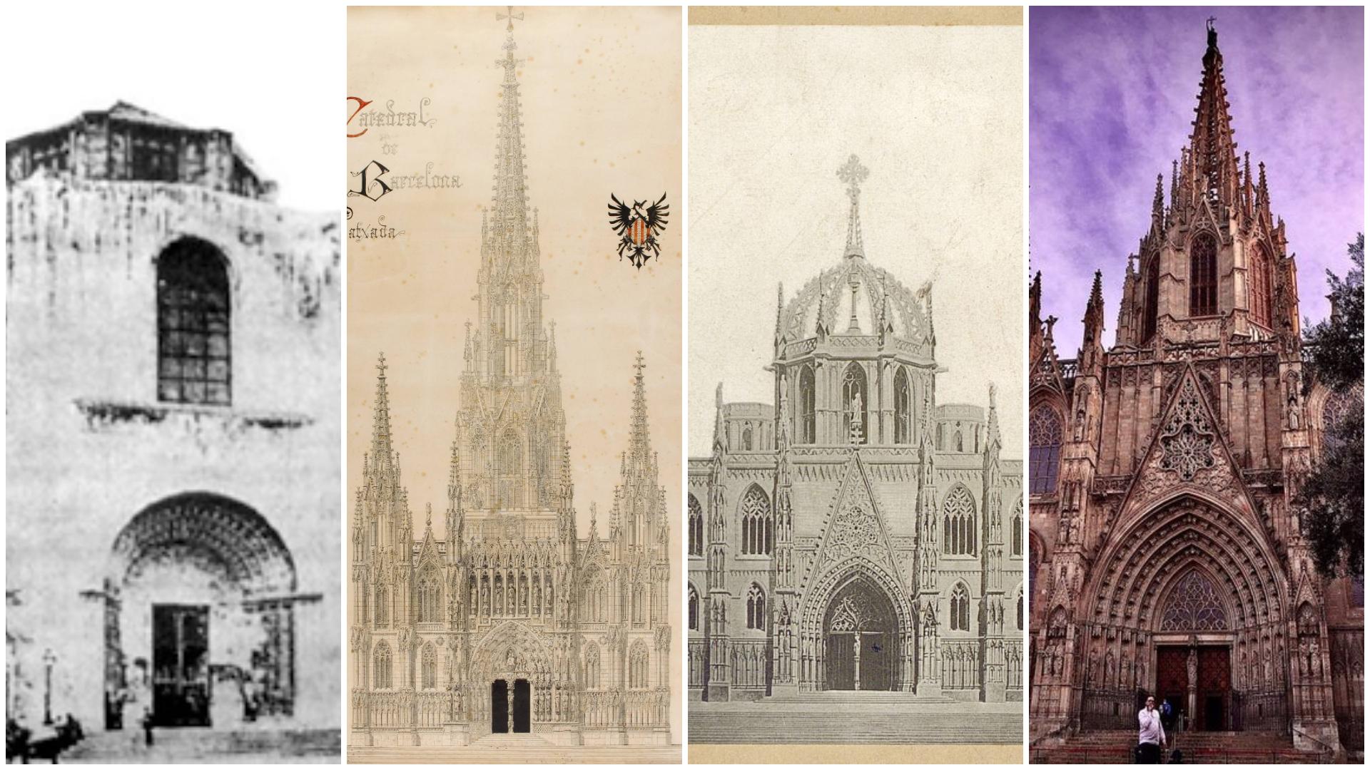 La façana de la Catedral de Barcelona és fruit de diversos projectes fallits i modificats / VV.AA.