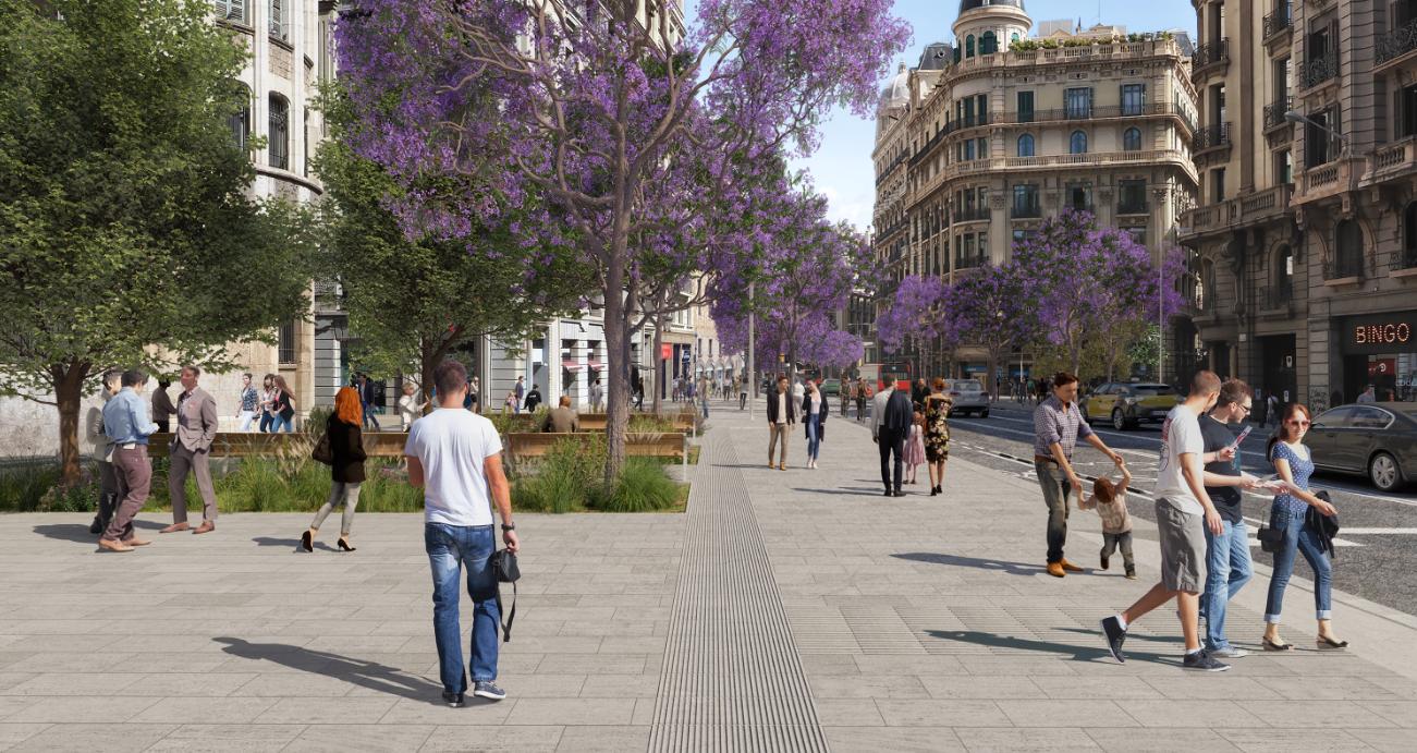 La simulació virtual de la proposta per a la Via Laietana, a l'altura de l'enllaç amb Jonqueres / Ajuntament