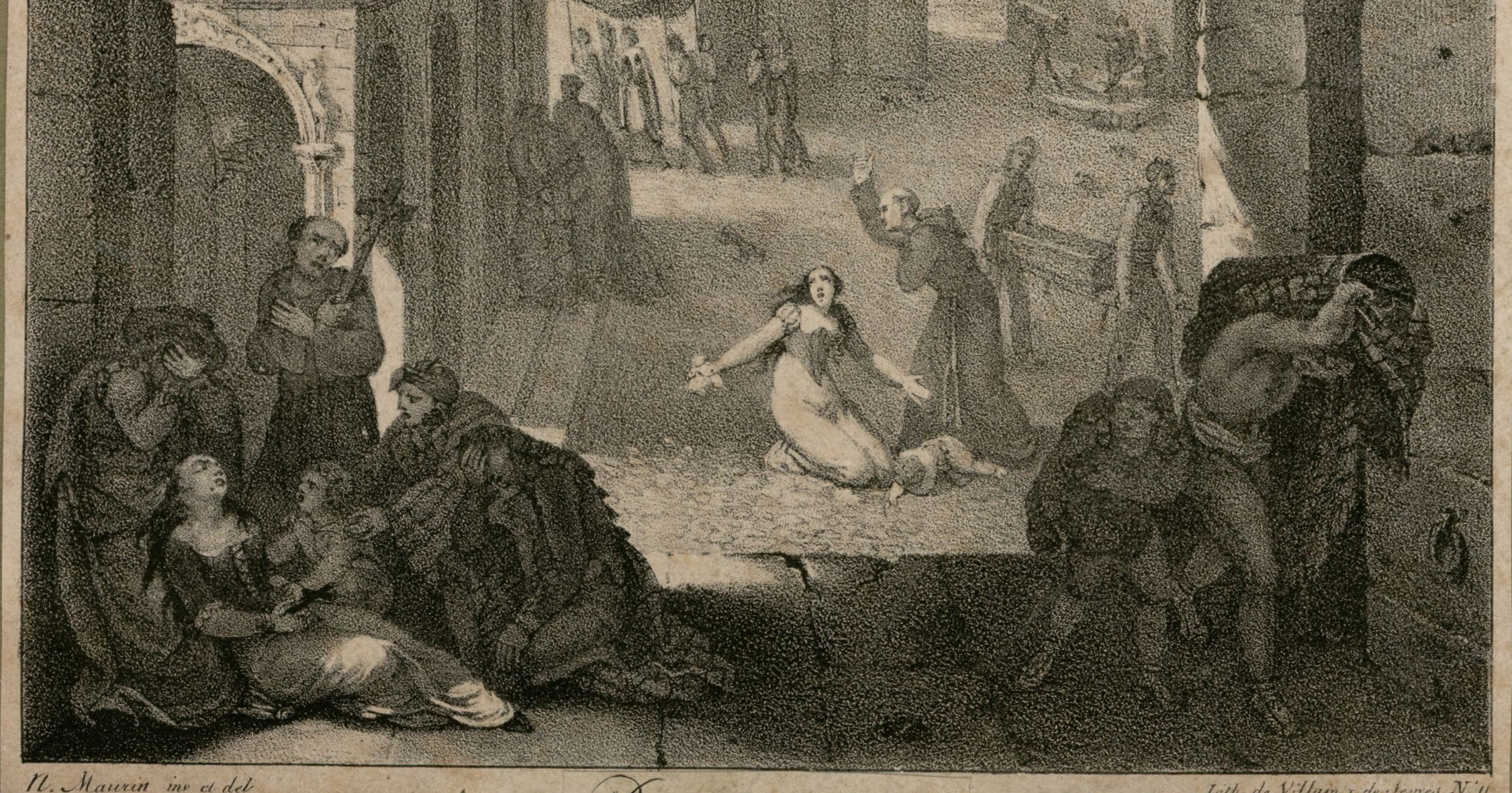 Gravat que representa l'epidèmia de pesta groga que va assolar Barcelona el 1821 / Arxiu Històric Barcelona