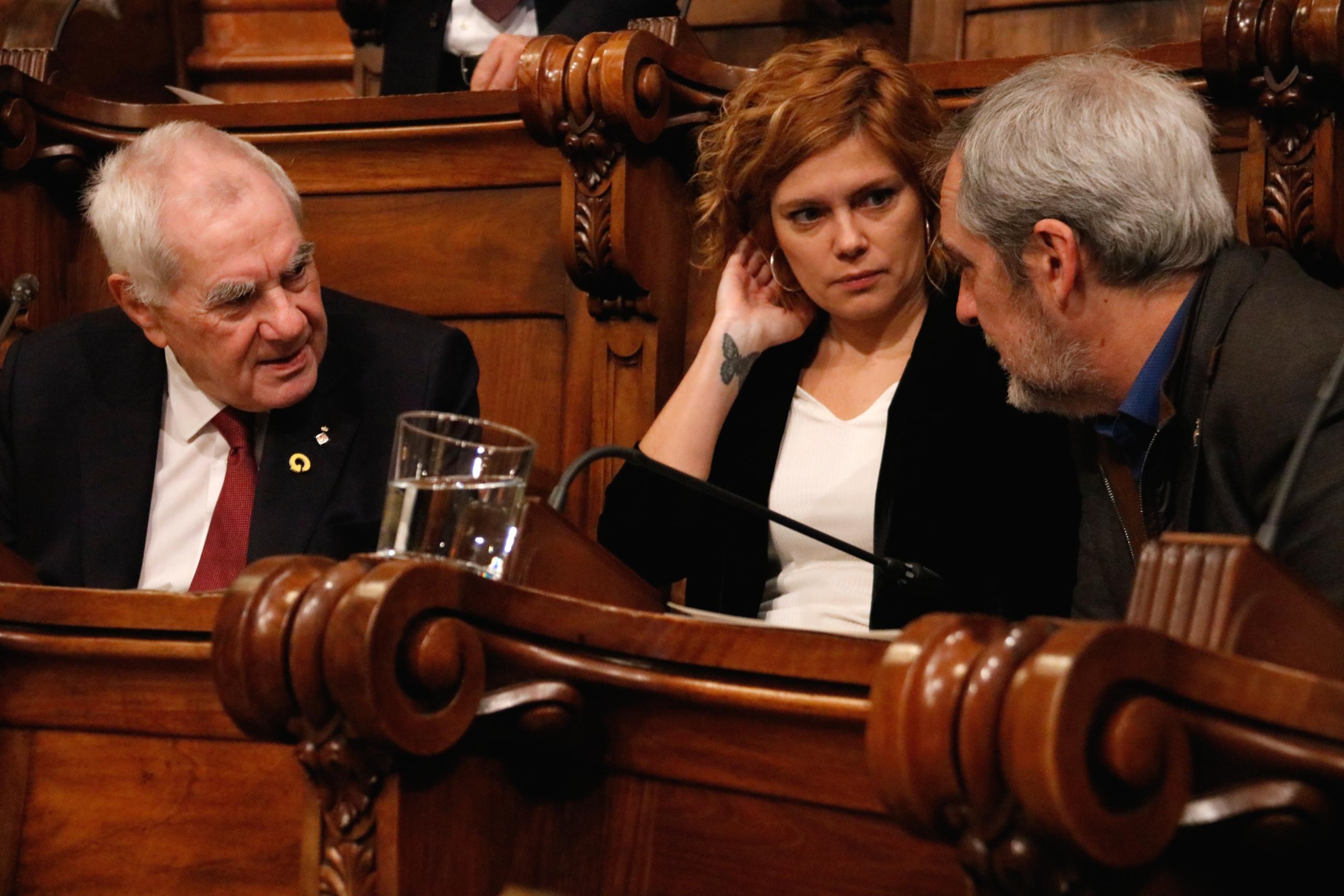 Els regidors republicans Ernest Maragall, Elisenda Alamany i Jordi Coronas / ACN